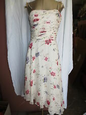 Worth white silk chiffon ruched bustier top full skirt floral dress sz 6