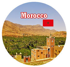 MOROCCO - SIGHTS / FLAG - ROUND NOVELTY SOUVENIR FRIDGE MAGNET - NEW - GIFTS
