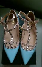 Ladies blue studded caged pointy ballerina flats rock chick size uk 4.5/5