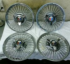 """1964 Ford Galaxie 500XL Mustang 14"""" Chrome Wire Spoked Hub caps Wheel Covers 4"""