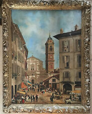 Very Large 19th century Oil Painting on canvas signed CANELLA gilt frame