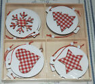 NEW-Box of 8 Wooden Christmas Tree Decorations, Red & White Gingham NORDIC STYLE