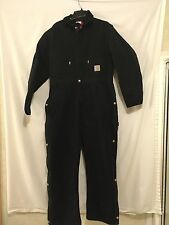 Men's CARHARTT Coverall Insulated  Red QUILT lined Black Sz 44 Regular
