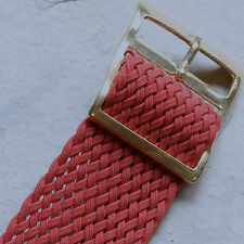 Red 21-22mm size tropical braided nylon NOS vintage watch band 1960s gold buckle