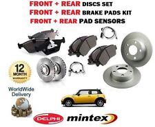 Para BMW Mini 1.4 1.6 Cooper 2006 & gt Frontal + Trasera Discos De Freno Set + Pad Kit + Sensor