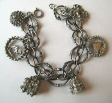 VINTAGE 800 Silver Middle Eastern Etruscan CHUNKY FOB Charm Bracelet One Opens