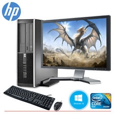 "HP Desktop Computer PC Core 2 Duo 4GB 160GB HD Windows 10 & 19"" LCD Monitor WIFI"