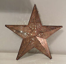GALVANIZED BRONZE METAL w/ SCROLLWORK STAR FAIRY LIGHTS HANGING LANTERN HM DECOR