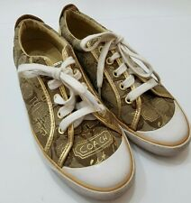 COACH GOLD GRAFFITI CANVAS SUEDE LEATHER BARRETT 7 B FASHION SNEAKERS LACE UPS