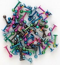 Lot100pcs Titanium Anodized 16g~1.2mm Labret Lip Chin Ring Monroe Bar Tragus NEW
