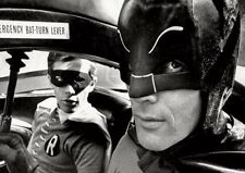 Batman and Robin Batmobile Close Up BW POSTER