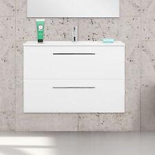 Mobile bagno design da 80cm sospeso moderno bianco lucido due cassetti softclose