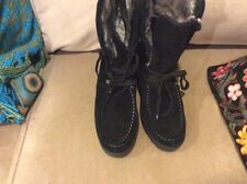 ISO Isotoner Black Boots 9M Watherproof Leather Fur ThermoLite Lace Women's NEW