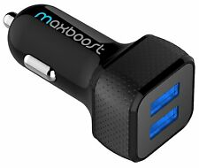 Car Charger, Maxboost 4.8A/24W 2 Smart Port Car Charger [Black] CARCHARGER-BBLK