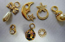 Charms Lot of 7 Gold Tone with Crystals, Pearl, Sun, Moon, Star, Bow Mis Sizes