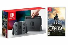 Nintendo Switch Gray System + Legend Of Zelda Breath Of The Wild Game Bundle