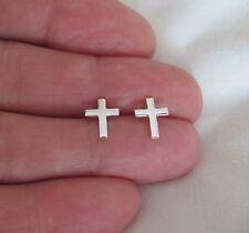 Sterling Silver 10mm plain Cross post stud earrings.