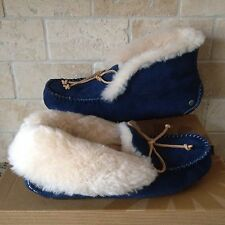 Ugg Alena Slippers Moccasins Midnight Suede Sheepskin US 7 Womens 1004806 NEW!