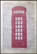 Teléfono Rojo Caja impresión Vintage Diccionario página Pared Arte Foto del teléfono Londres
