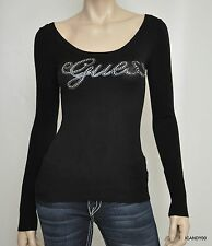Nwt Guess RITA Logo Crystal Cut Out Long Sleeve Sweater Pullover Jet Black XS