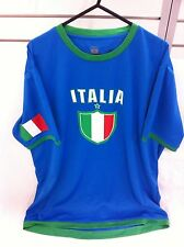 Blue Italia Shirt T-Shirt Adult Football Soccer Italian Calcio Italy Medium New