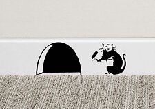 B039 BANKSY RAT Hole Wall Art Sticker Vinyl Decal Mice Home Skirting Board Funny