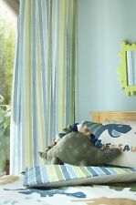 """66"""" by 72"""" Green Striped Lined Pencil Pleat Curtains Dino Dinosaur Range"""