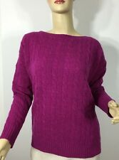 Ralph Lauren Cashmere Wool Cable Knit Sweater Womens Loganberry New