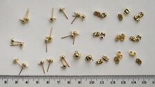 10 pairs gold plated domed earstuds with front loop, incl scrolls, findings