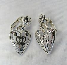 Silver Plated Heart Dangle Clip On Earrings   # 8061S  New