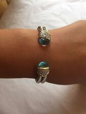 David Yurman 18K Gold Silver Blue Topaz Pave Diamond Cuff Bracelet
