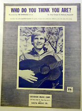 SHINDOGS Sheet Music WHO DO YOU THINK YOU ARE Criterion Publ. 60's POP VOCALS