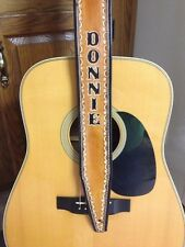 "CUSTOM HANDMADE LEATHER GUITAR STRAP PERSONALIZED WITH YOUR NAME 2 1/2"" WIDE"