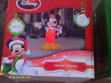 DISNEY MICKEY MOUSE TRAIN CONDUCTOR w/ Candy Cane Christmas Airblown Inflatable