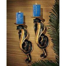 EGYPTIAN SET OF 2 COBRA GODDESS OF FORTUNE CANDLE HOLDER WALL DECOR NEW