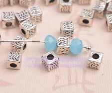 50pc 5mm Tibetan Silver Crafts Findings Cube Square Spacer Beads Jewelry Making