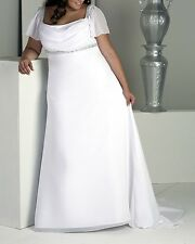 wedding dress dresses size plus 16 18 20 22 24 26 cap sleeves white ivory 6686