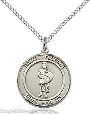 "Bliss St Florian Patron Saint Sterling Silver Medal Pendant Necklace w/18"" Chain"