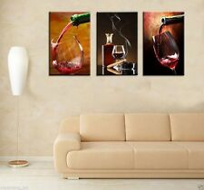 Oil Painting HD Print On Canvas Decor Wall Art, Abstract ,Red wine 3PC Unframed