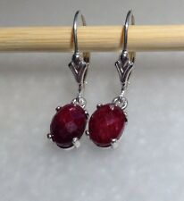 Sterling Silver Oval Cabochon Natural Ruby Dangle Lever Back Earrings 3.95CTW