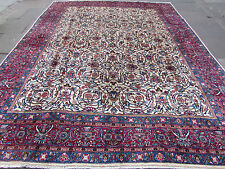 Large Old Hand Made Traditional Persian Oriental Wool Ceam Carpet 374x286cm