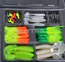 Soft Fishing Lures Bait Tackle Small Jig Head Box Set Simulation Suite Chic