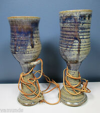 Pair 2 Handcrafted Pottery Wine Chalice Goblets Blue Gray Wedding Mugs Glasses