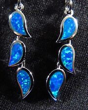 "Brilliant Blue Lab Fire Opal Silver 925 Filled Post Dangle Earrings 1 3/4"" D"
