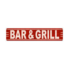 Retro Bar and Grill Rustic Red Pub Food Restaurant Tin Metal Steel Sign 28x6