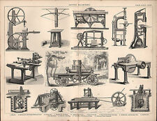 1874 PRINT ~ SAWING MACHINERY ~ BELT SAW TENON CUTTING MACHINE SAW VENEER