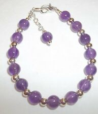 Toddler Child Girl Bracelet Natural Purple Amethyst & Silver February Birthstone