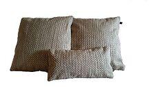 3 Pillow Covers Nobilis Grain De Cafe Silver Cream - B4
