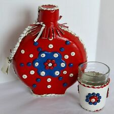 VTG Bohemain Flask Folk Art Beaded Red Leather Wrapped Bottle Canteen Glass Cup