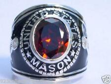 925 Silver United States Mason Masonic January Garnet CZ Stone Men Ring Size 13